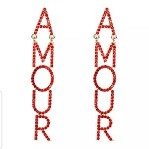 Crystal Drop Dangle Amour red Rhinestone Earrings